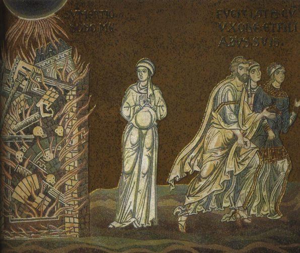 La destruction de Sodome. La femme de Loth. Mosaïque de la cathédrale de Monreale.