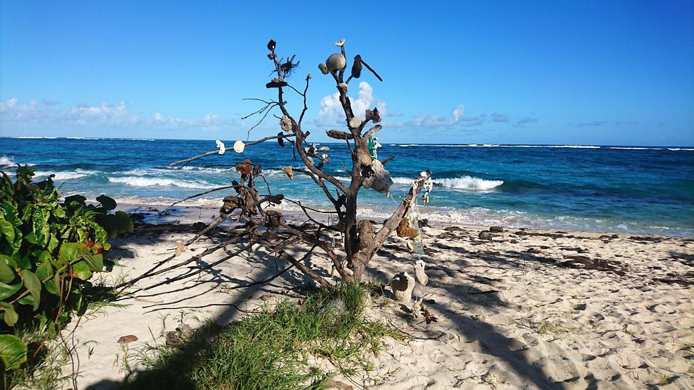 Installation trouvée sur une plage