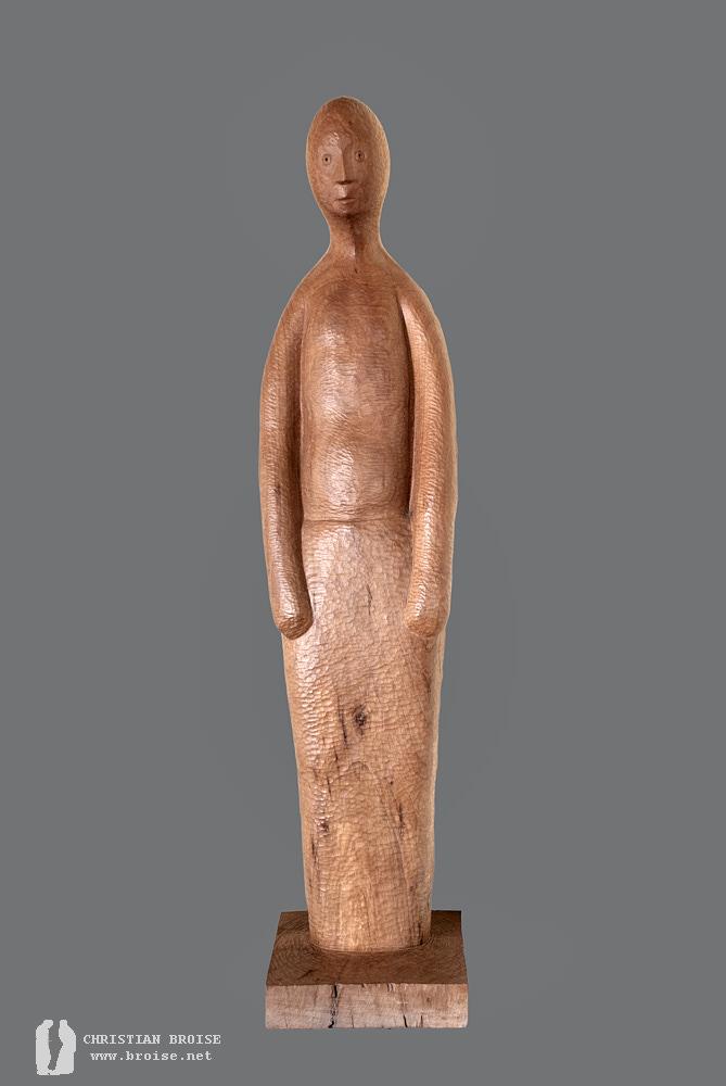 Figure debout 3 (Bois de pommier) de Christian Broise